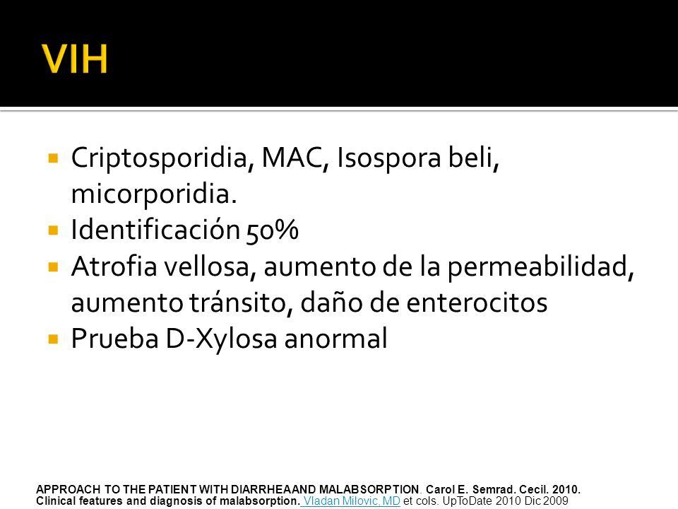 VIH Criptosporidia, MAC, Isospora beli, micorporidia.