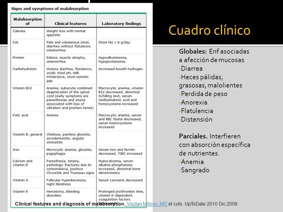 Cuadro clínico Globales: Enf asociadas a afección de mucosas Diarrea
