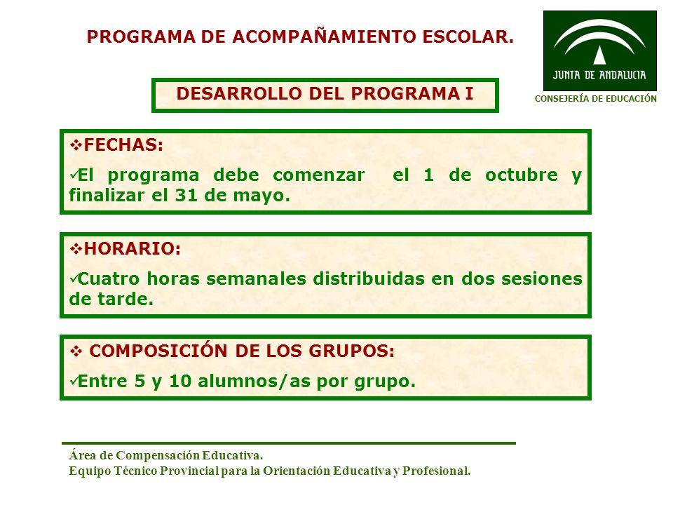PROGRAMA DE ACOMPAÑAMIENTO ESCOLAR. DESARROLLO DEL PROGRAMA I