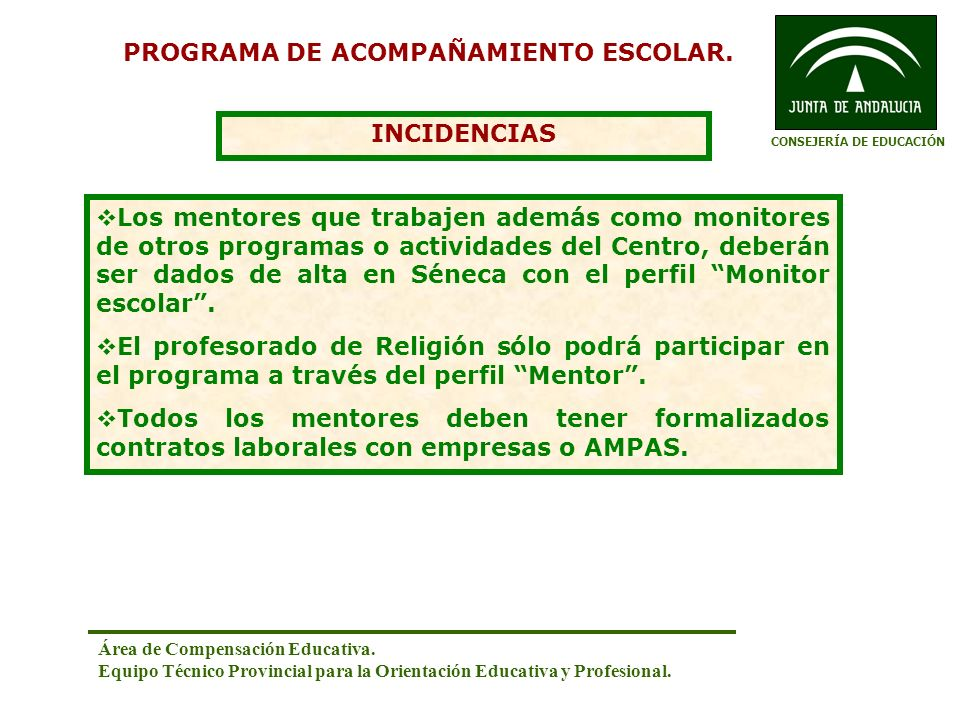 PROGRAMA DE ACOMPAÑAMIENTO ESCOLAR. CONSEJERÍA DE EDUCACIÓN