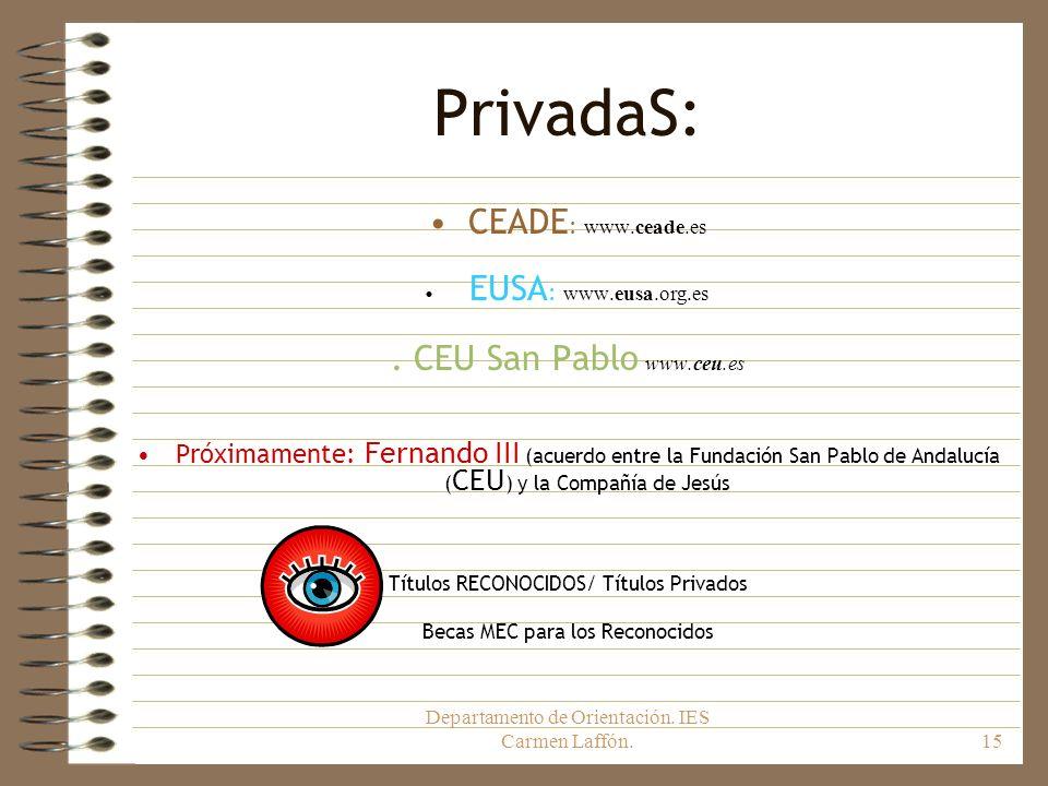 PrivadaS: CEADE: www.ceade.es . CEU San Pablo www.ceu.es