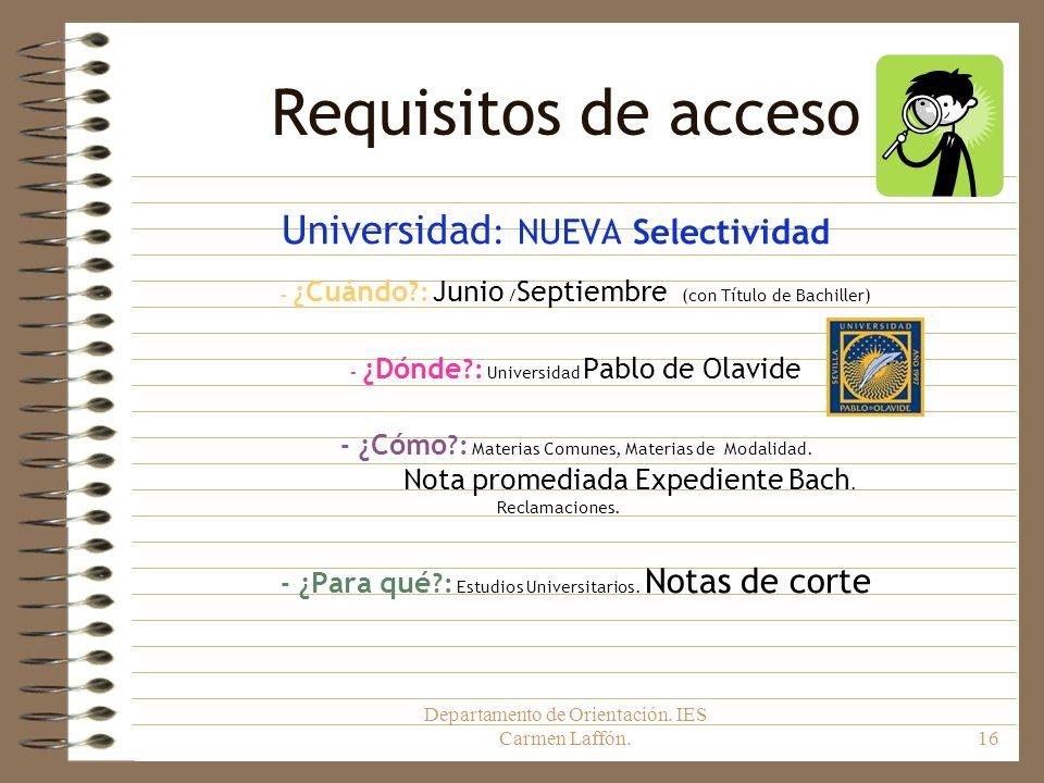 Requisitos de acceso Universidad: NUEVA Selectividad