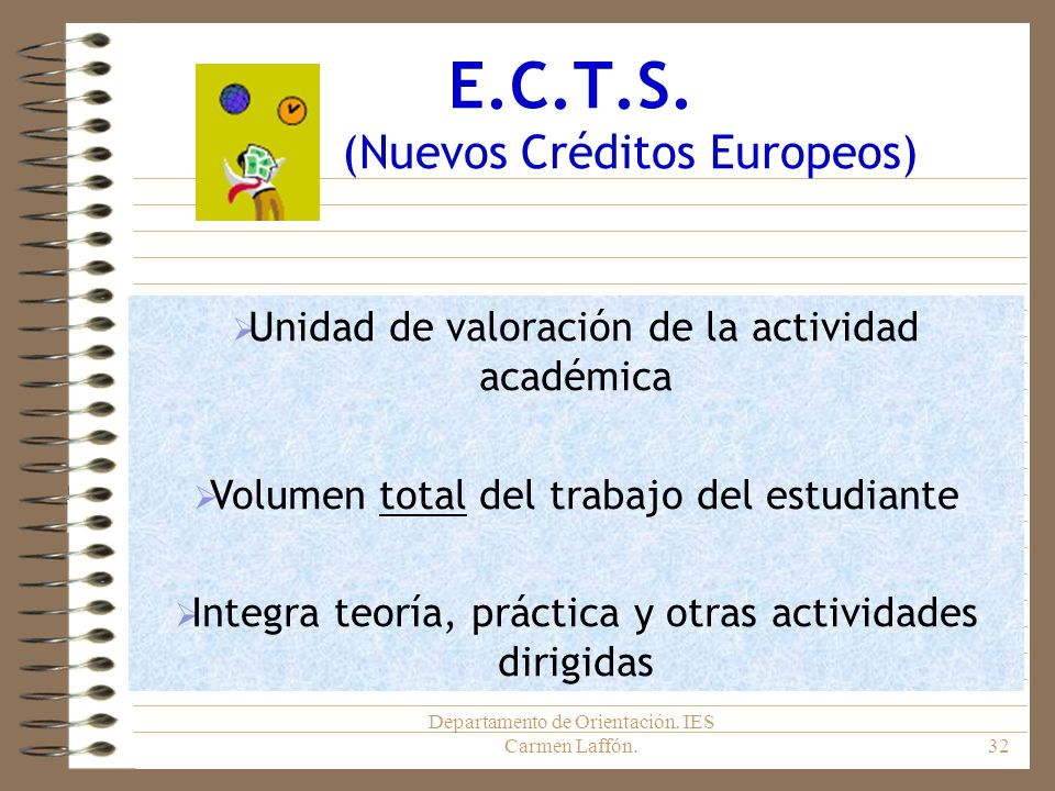 E.C.T.S. (Nuevos Créditos Europeos)