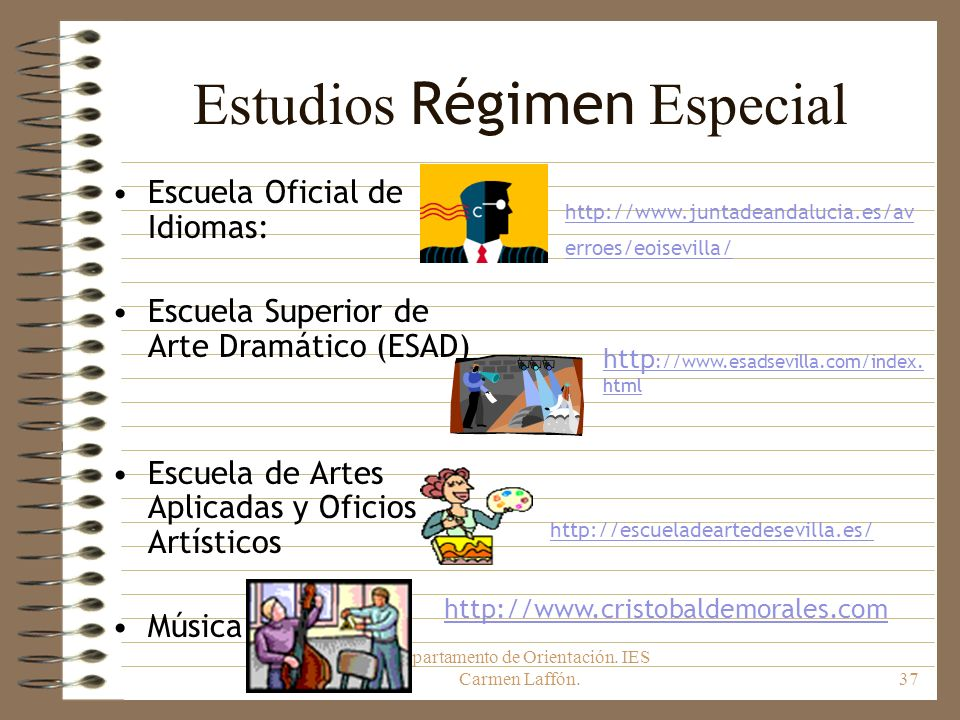 Estudios Régimen Especial