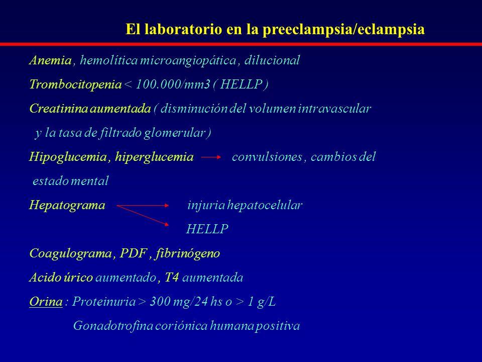 El laboratorio en la preeclampsia/eclampsia
