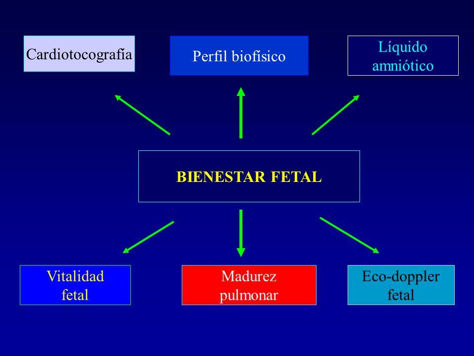 Cardiotocografía Perfil biofísico. Líquido. amniótico. BIENESTAR FETAL. Vitalidad. fetal. Madurez.