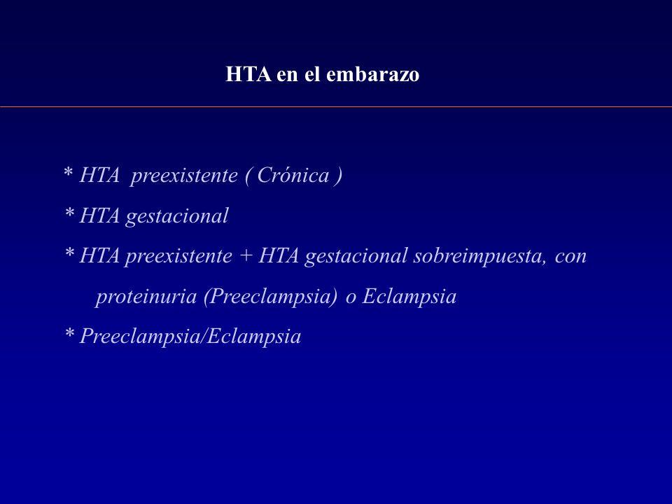HTA en el embarazo* HTA preexistente ( Crónica ) * HTA gestacional. * HTA preexistente + HTA gestacional sobreimpuesta, con.
