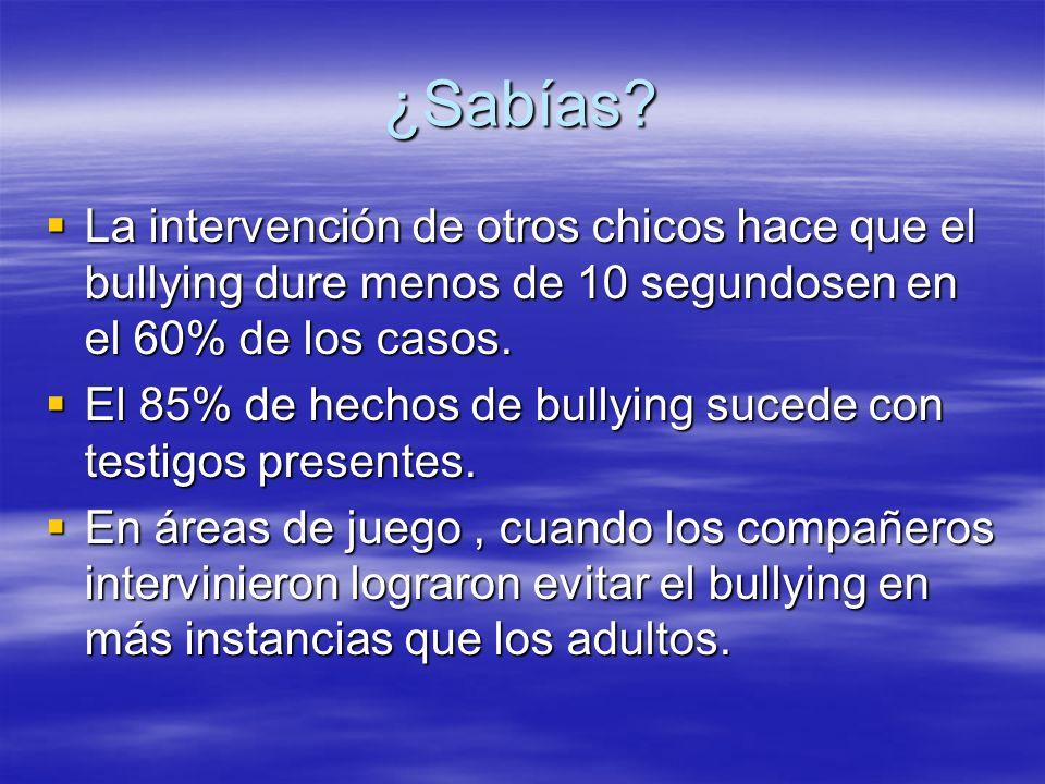 ¿Sabías La intervención de otros chicos hace que el bullying dure menos de 10 segundosen en el 60% de los casos.
