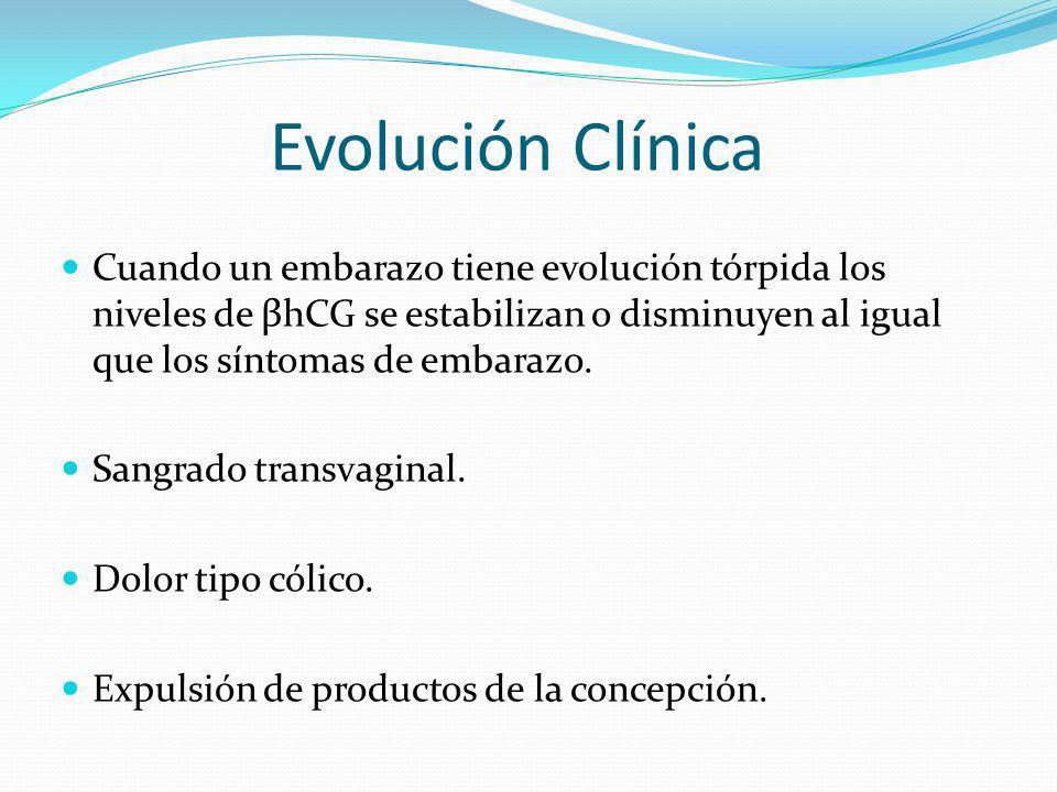Evolución Clínica Cuando un embarazo tiene evolución tórpida los niveles de βhCG se estabilizan o disminuyen al igual que los síntomas de embarazo.