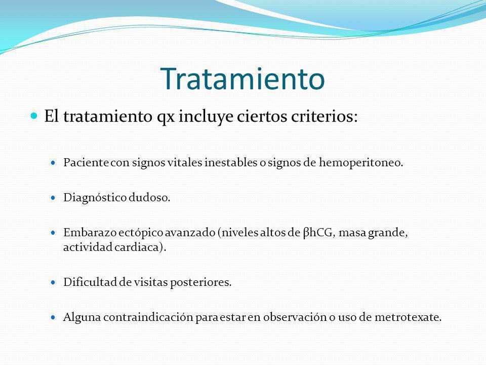 Tratamiento El tratamiento qx incluye ciertos criterios: