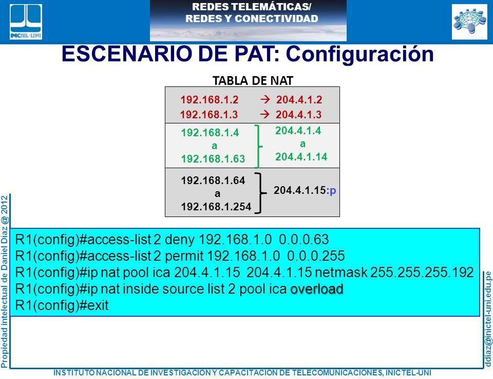 ESCENARIO DE PAT: Configuración