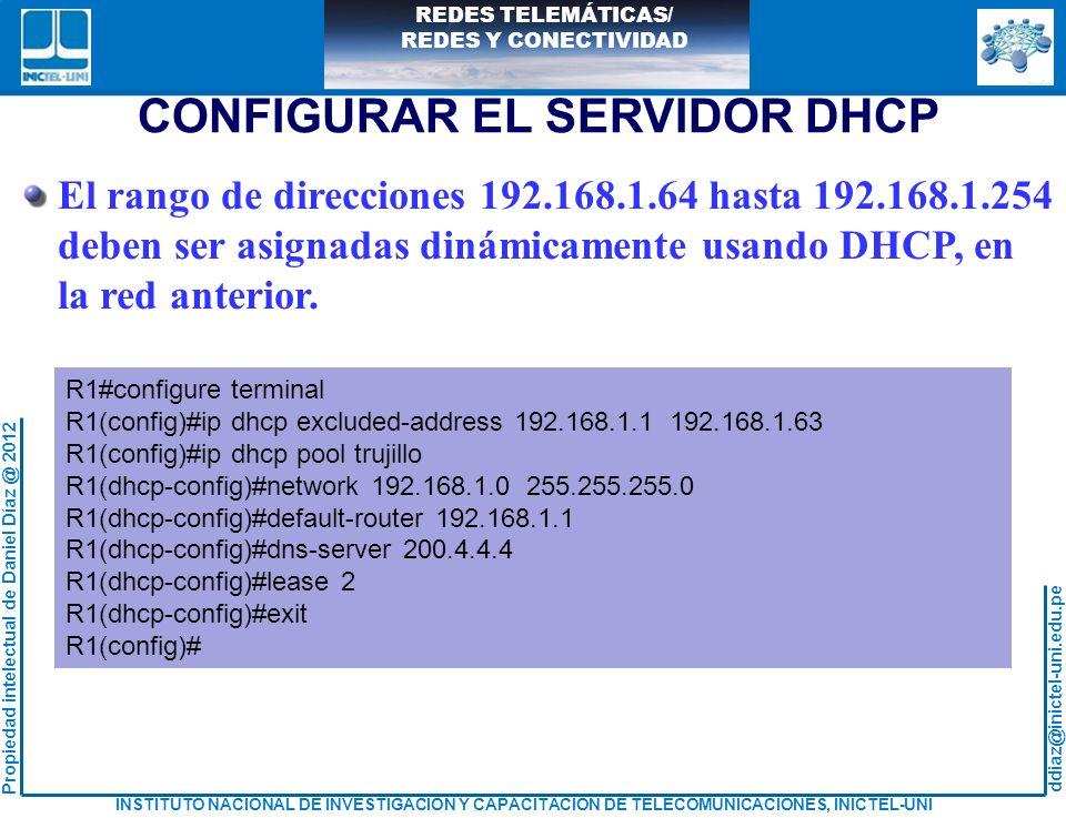 CONFIGURAR EL SERVIDOR DHCP