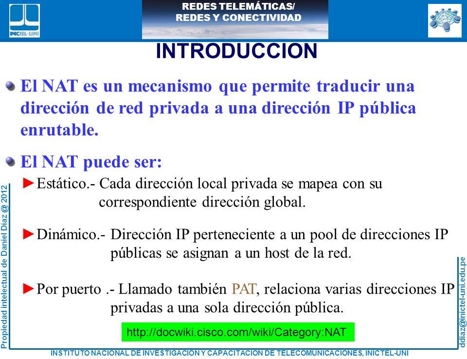 INTRODUCCION El NAT es un mecanismo que permite traducir una