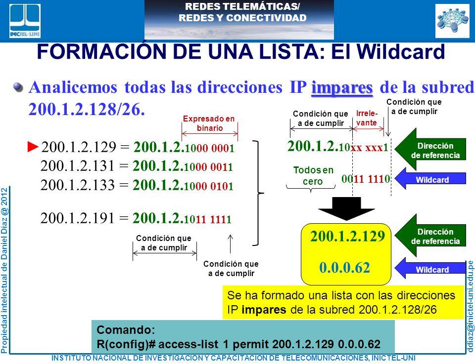 FORMACIÓN DE UNA LISTA: El Wildcard