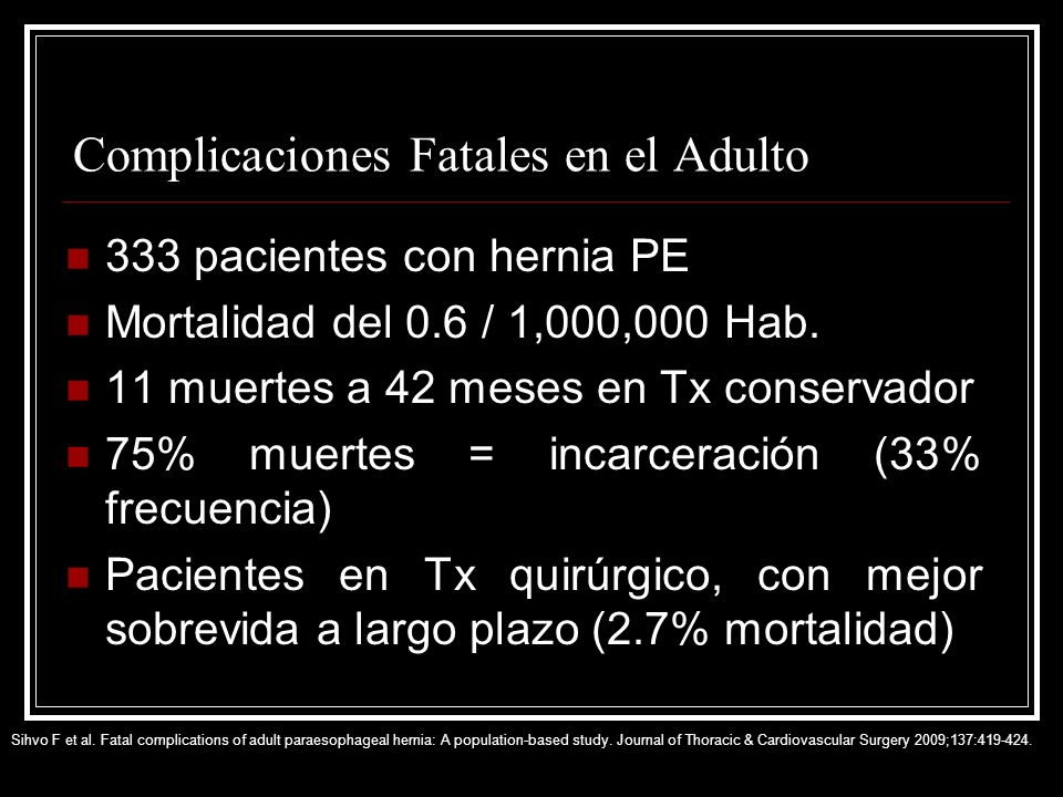Complicaciones Fatales en el Adulto