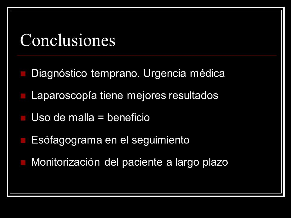 Conclusiones Diagnóstico temprano. Urgencia médica