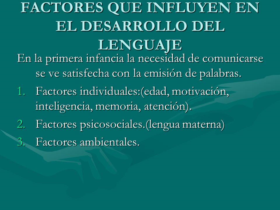FACTORES QUE INFLUYEN EN EL DESARROLLO DEL LENGUAJE