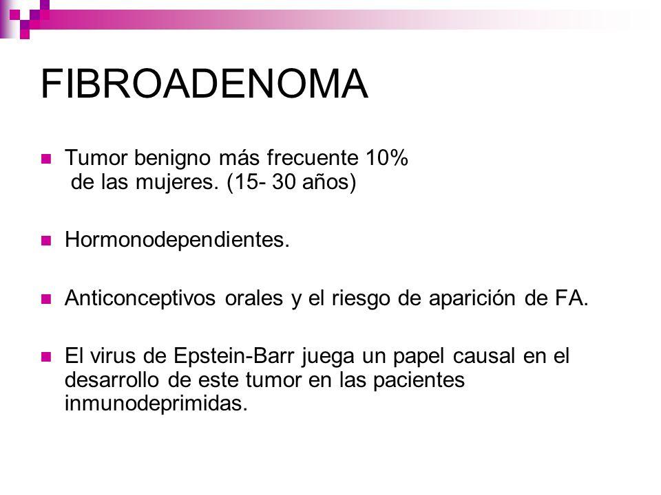 FIBROADENOMA Tumor benigno más frecuente 10% de las mujeres. (15- 30 años) Hormonodependientes.
