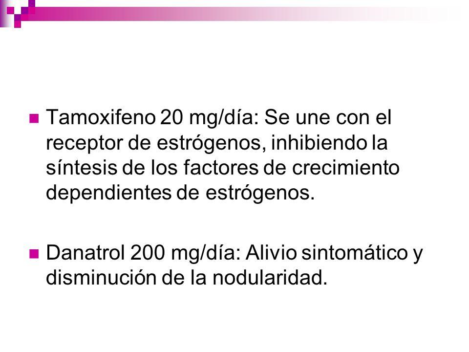 Tamoxifeno 20 mg/día: Se une con el receptor de estrógenos, inhibiendo la síntesis de los factores de crecimiento dependientes de estrógenos.