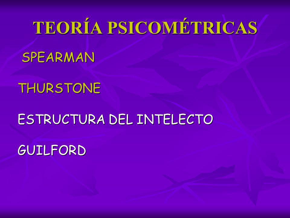 TEORÍA PSICOMÉTRICAS SPEARMAN THURSTONE ESTRUCTURA DEL INTELECTO