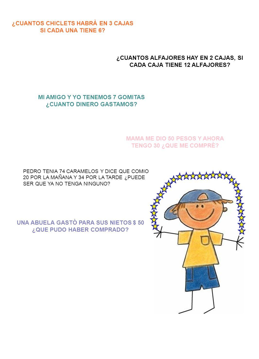 ¿CUANTOS CHICLETS HABRÀ EN 3 CAJAS SI CADA UNA TIENE 6