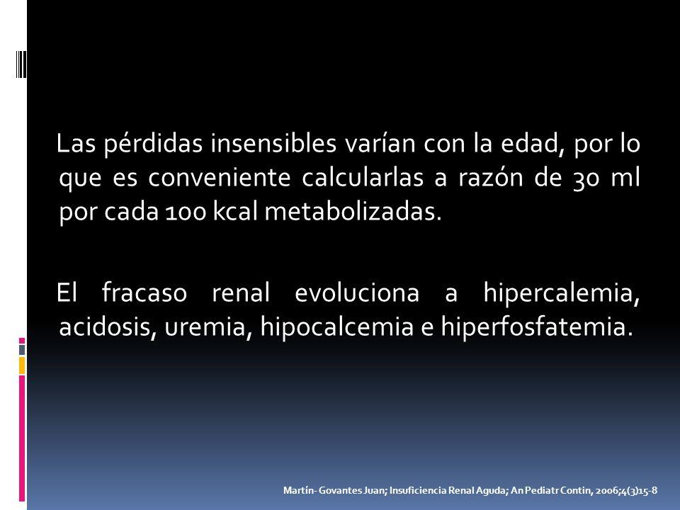 Las pérdidas insensibles varían con la edad, por lo que es conveniente calcularlas a razón de 30 ml por cada 100 kcal metabolizadas. El fracaso renal evoluciona a hipercalemia, acidosis, uremia, hipocalcemia e hiperfosfatemia.