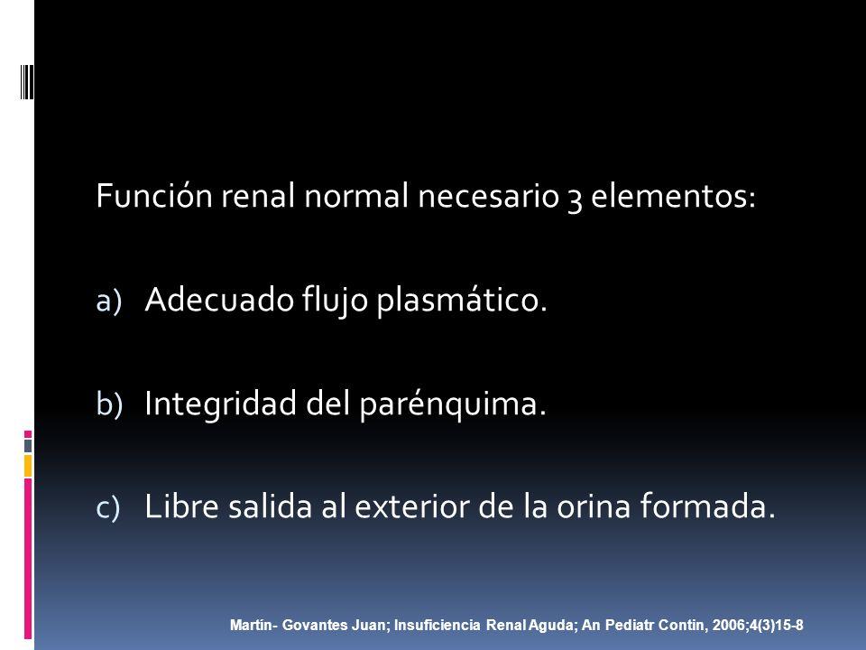 Función renal normal necesario 3 elementos: Adecuado flujo plasmático.