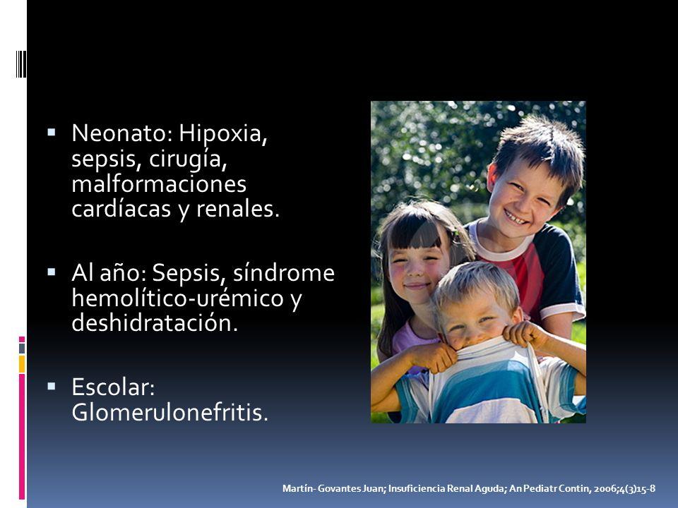 Neonato: Hipoxia, sepsis, cirugía, malformaciones cardíacas y renales.