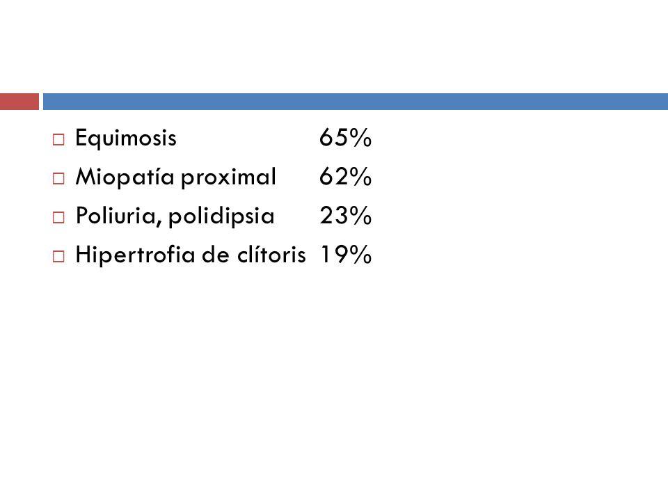 Equimosis 65% Miopatía proximal 62% Poliuria, polidipsia 23% Hipertrofia de clítoris 19%