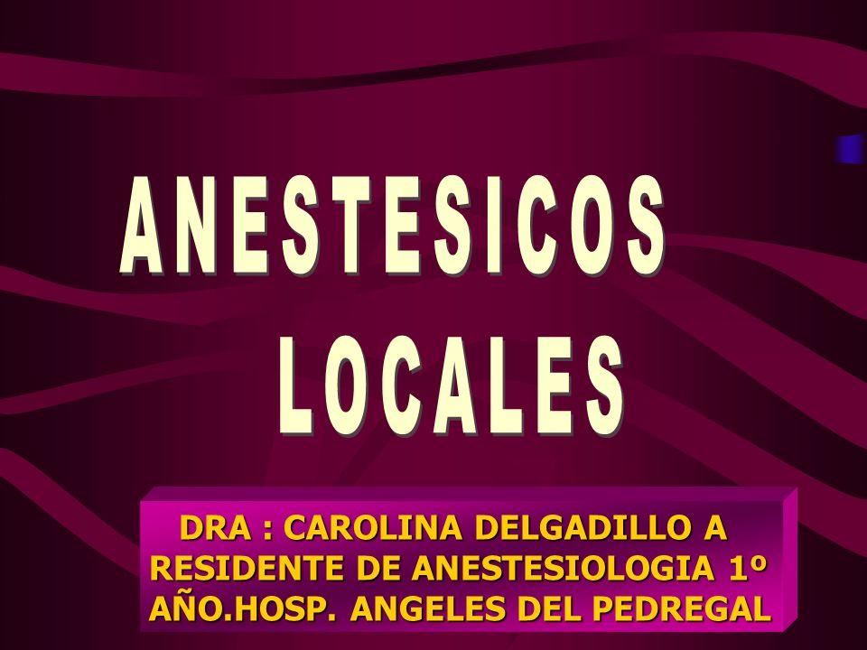 ANESTESICOS LOCALES DRA : CAROLINA DELGADILLO A