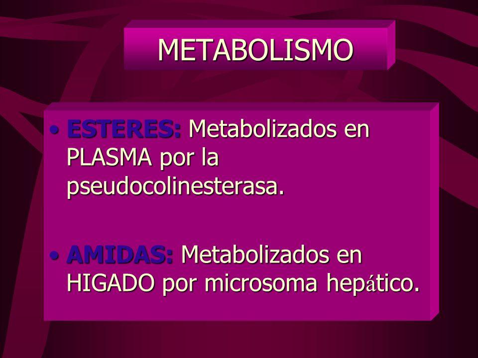 METABOLISMO ESTERES: Metabolizados en PLASMA por la pseudocolinesterasa.