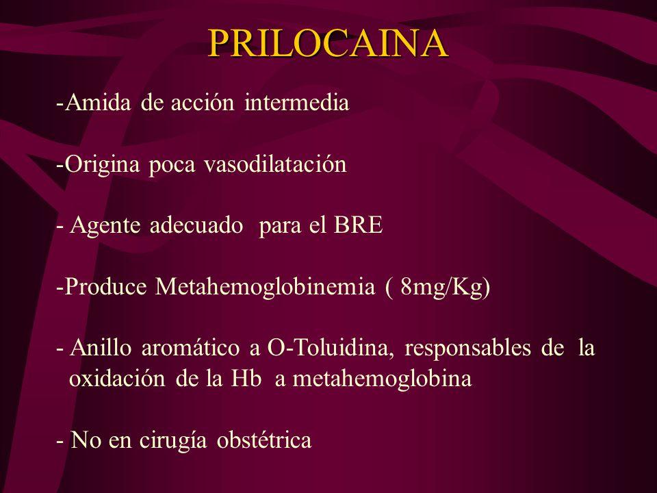 PRILOCAINA Amida de acción intermedia Origina poca vasodilatación
