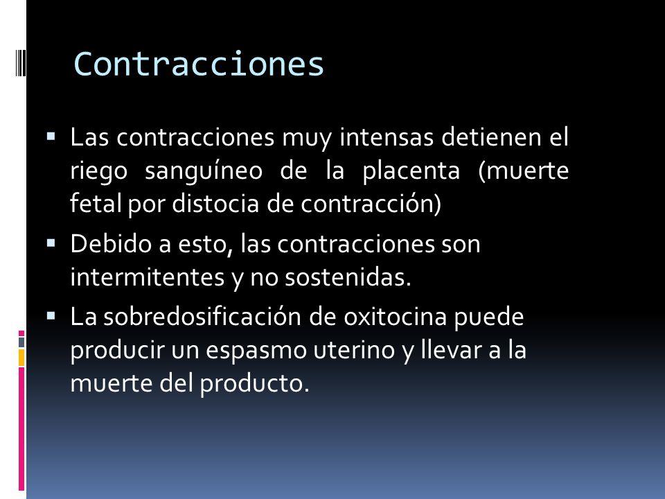 Contracciones Las contracciones muy intensas detienen el riego sanguíneo de la placenta (muerte fetal por distocia de contracción)