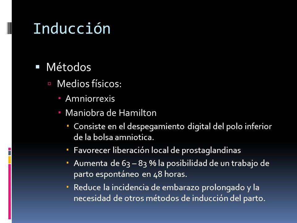 Inducción Métodos Medios físicos: Amniorrexis Maniobra de Hamilton