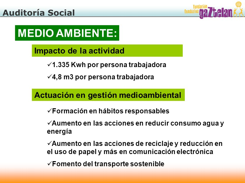 MEDIO AMBIENTE: Auditoría Social Impacto de la actividad