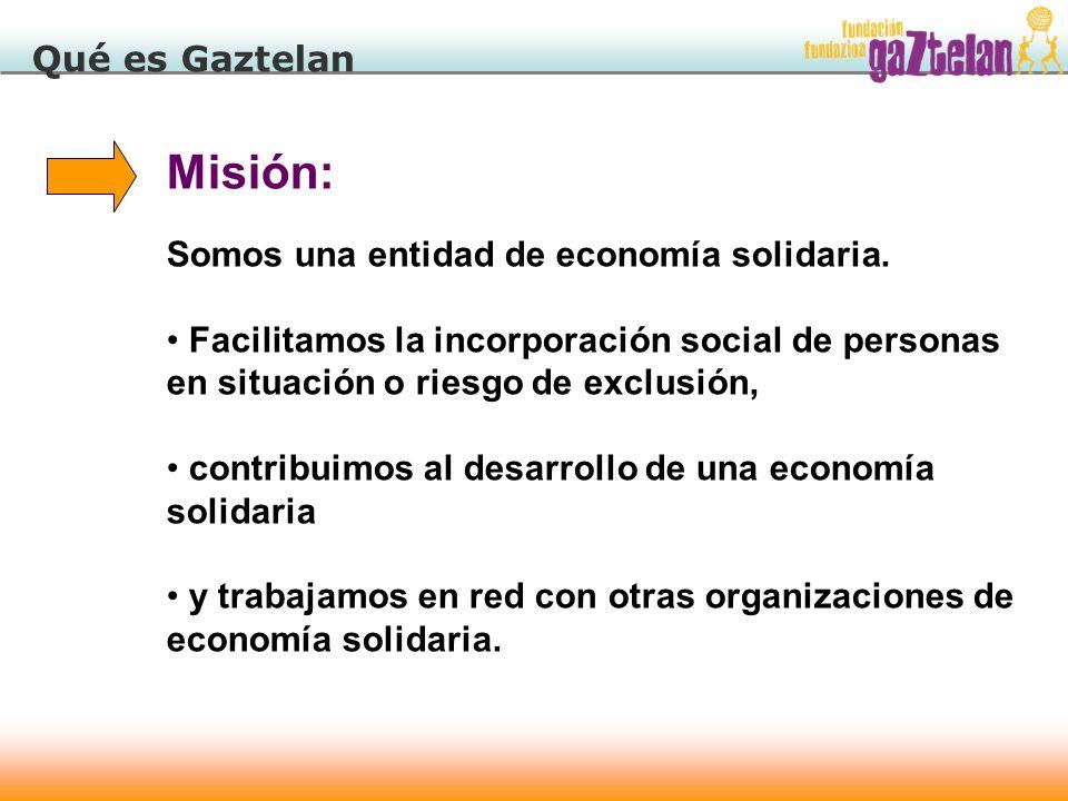 Misión: Qué es Gaztelan Somos una entidad de economía solidaria.