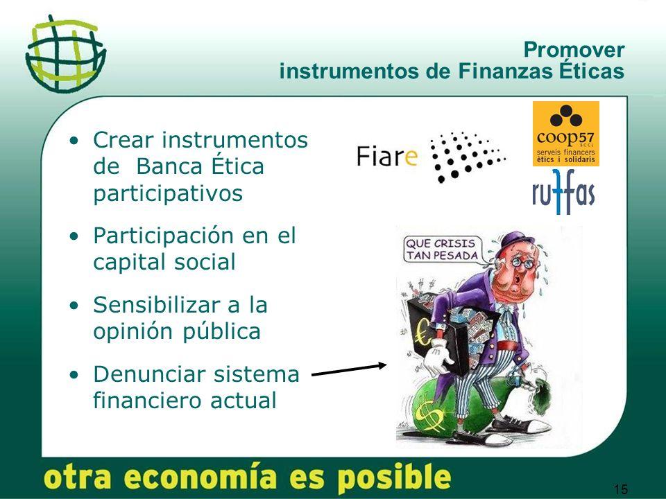 Promover instrumentos de Finanzas Éticas