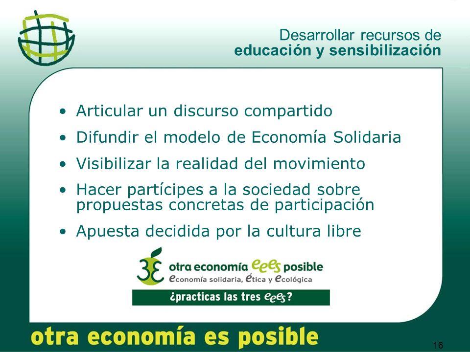 Desarrollar recursos de educación y sensibilización