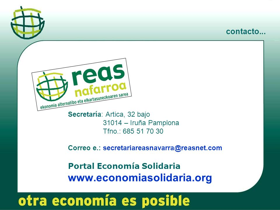 www.economiasolidaria.org contacto... Portal Economía Solidaria