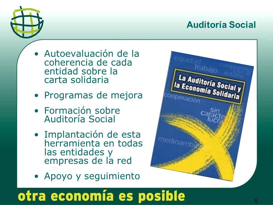 Auditoría Social Autoevaluación de la coherencia de cada entidad sobre la carta solidaria. Programas de mejora.