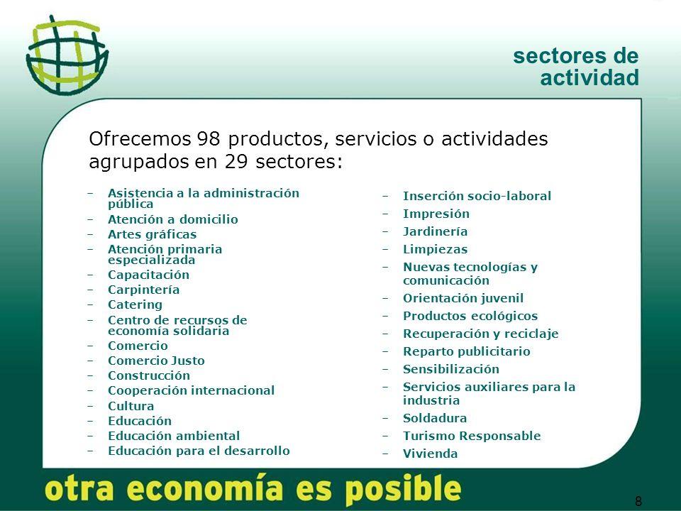 sectores de actividad Ofrecemos 98 productos, servicios o actividades agrupados en 29 sectores: Asistencia a la administración pública.