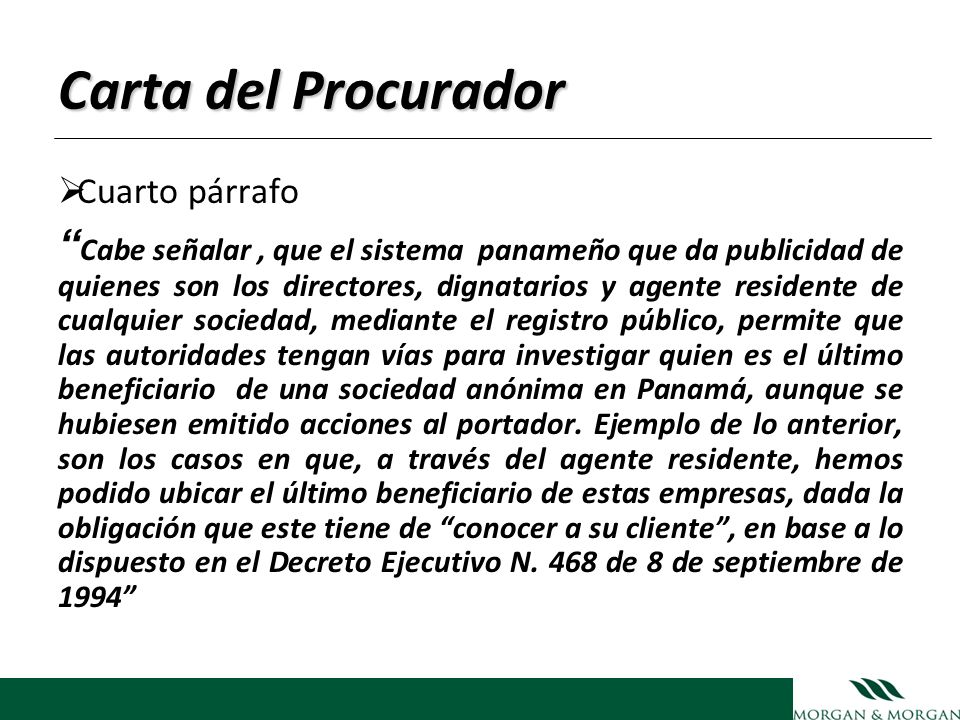 Carta del Procurador Cuarto párrafo.