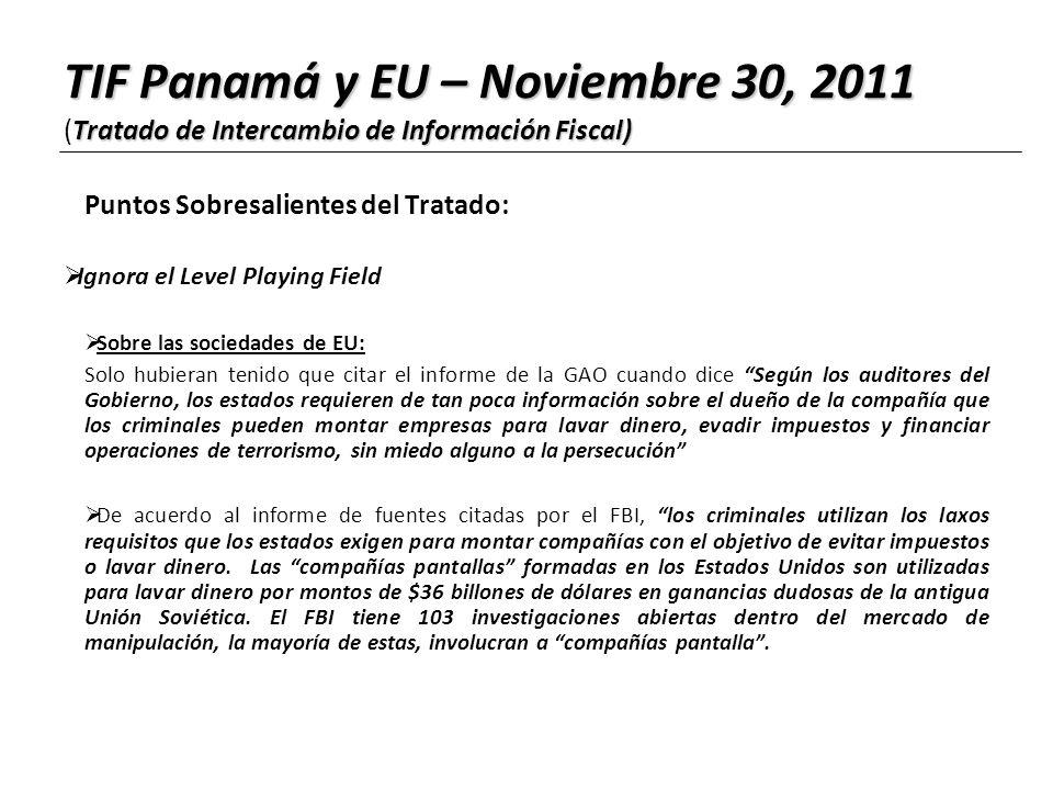 TIF Panamá y EU – Noviembre 30, 2011 (Tratado de Intercambio de Información Fiscal)