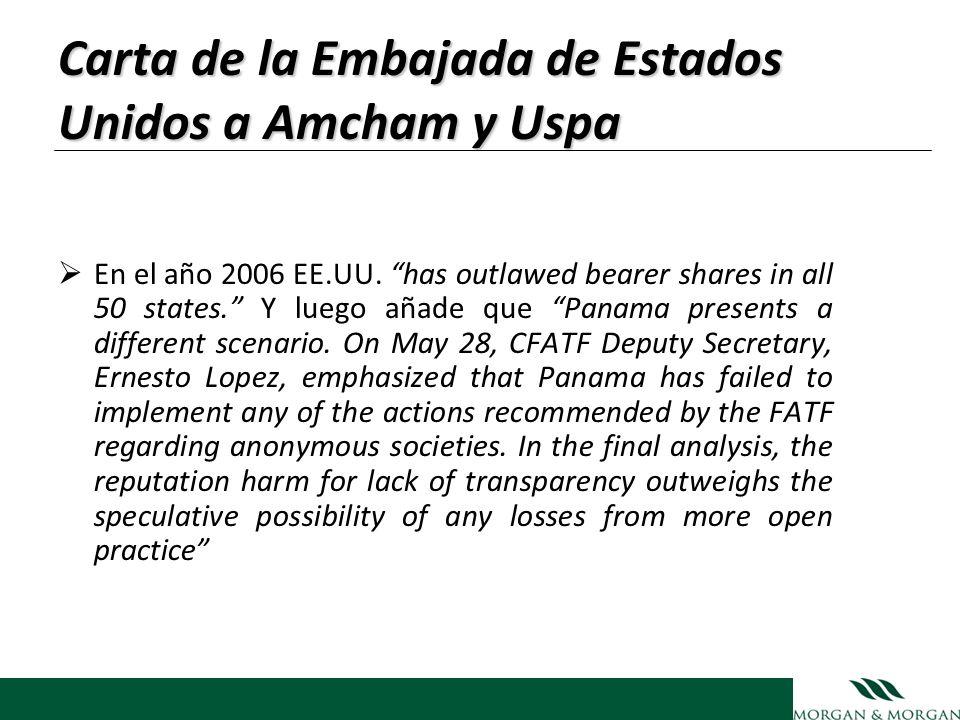 Carta de la Embajada de Estados Unidos a Amcham y Uspa