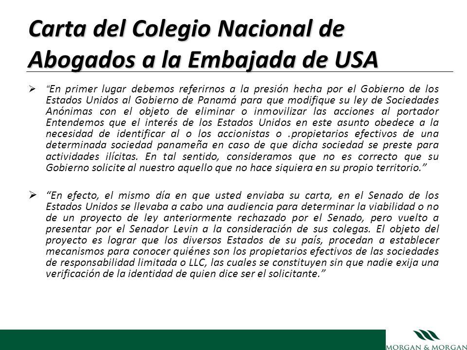 Carta del Colegio Nacional de Abogados a la Embajada de USA