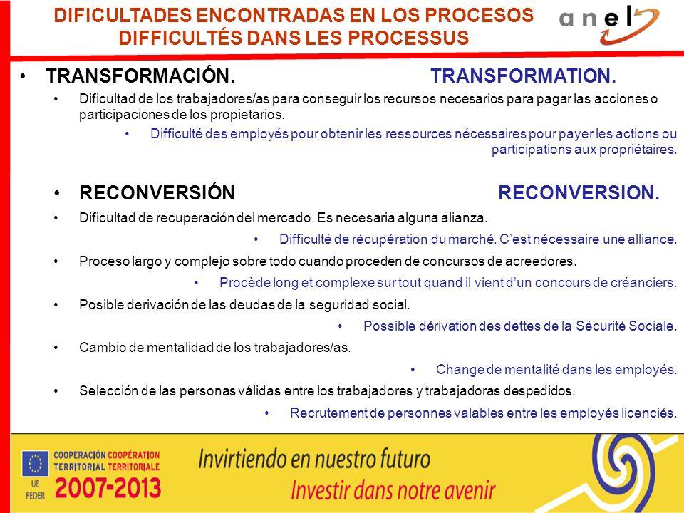 DIFICULTADES ENCONTRADAS EN LOS PROCESOS