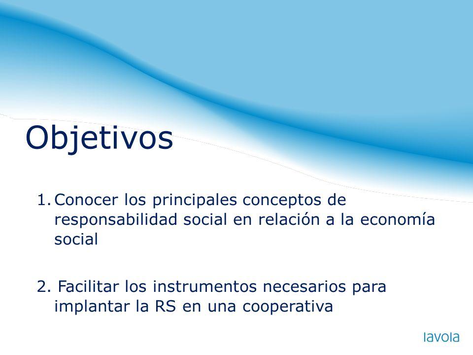 Objetivos Conocer los principales conceptos de responsabilidad social en relación a la economía social.