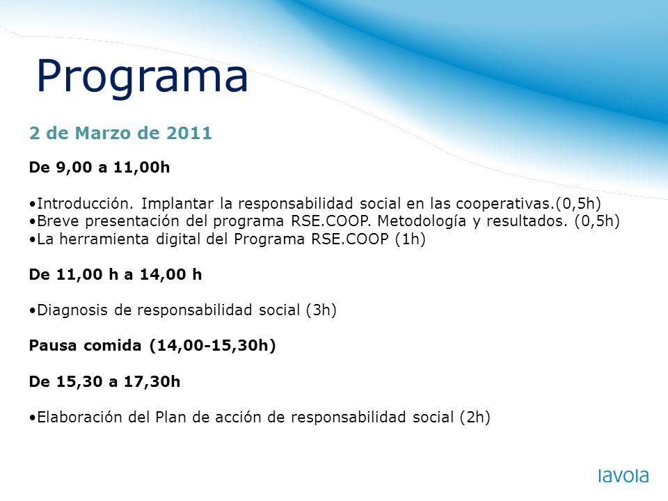 Programa 2 de Marzo de 2011 De 9,00 a 11,00h