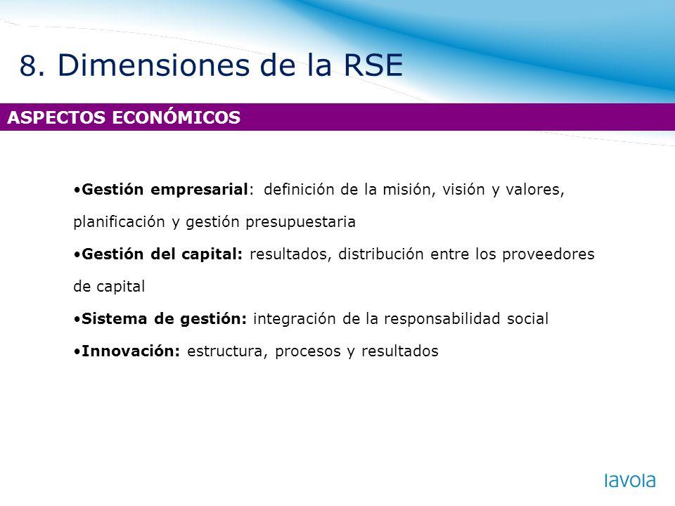 8. Dimensiones de la RSE ASPECTOS ECONÓMICOS