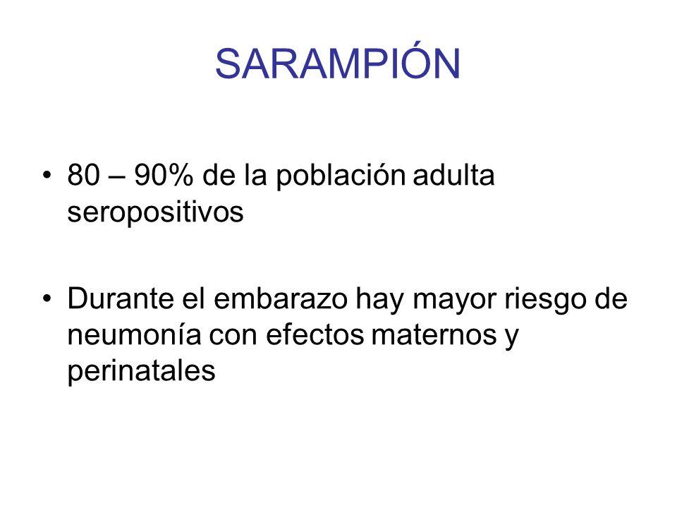 SARAMPIÓN 80 – 90% de la población adulta seropositivos